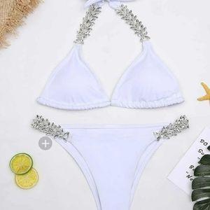 white rhinestone bikini